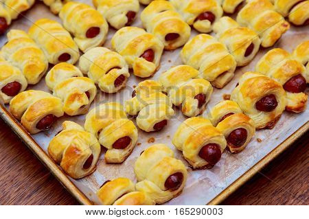 Little Hot Dogs Rolled In Dough And Baked