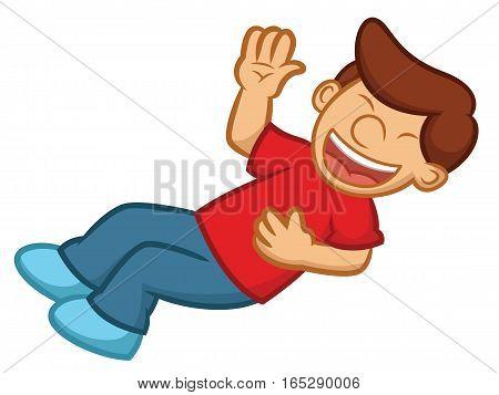 Boy Rolling on the Floor Laughing Cartoon Illustration