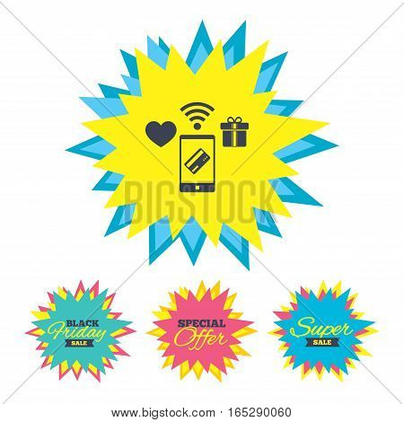 Sale stickers and banners. Wireless mobile payments icon. Smartphone, credit card and gift symbol. Star labels. Vector