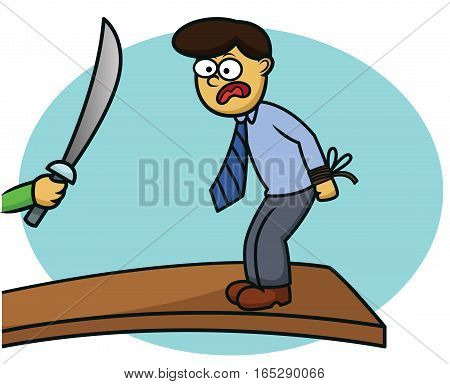 Businessman Doing Walk on the Plank Punishment Cartoon Illustration