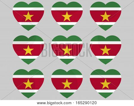 Heart With The Flag Of Suriname. I Love Suriname. Vector Illustration.