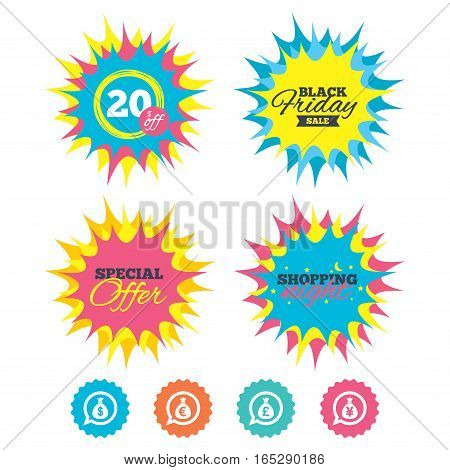 Shopping night, black friday stickers. Money bag icons. Dollar, Euro, Pound and Yen speech bubbles symbols. USD, EUR, GBP and JPY currency signs. Special offer. Vector