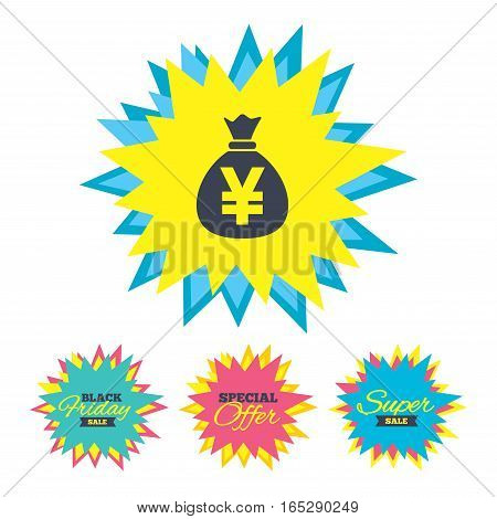 Sale stickers and banners. Money bag sign icon. Yen JPY currency symbol. Star labels. Vector