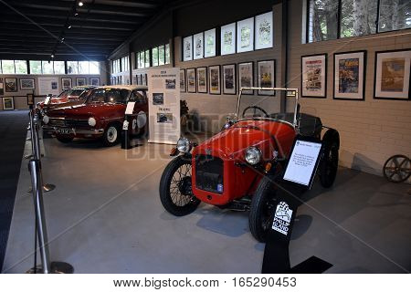 Phillip Island Australia - December 28 2016. History of Motorsport display showcases the beginning of Motor sport on Phillip Island from the first car grand prix through to present days.