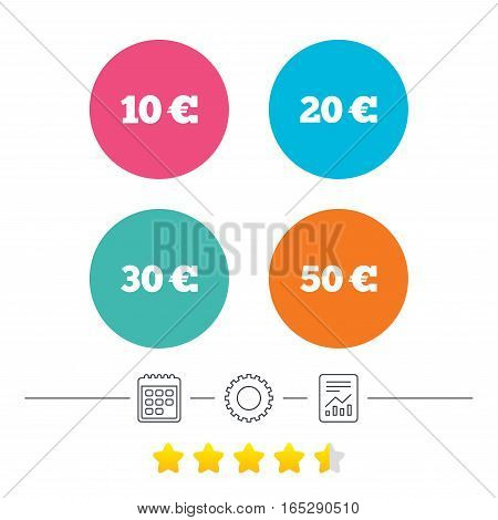 Money in Euro icons. 10, 20, 30 and 50 EUR symbols. Money signs Calendar, cogwheel and report linear icons. Star vote ranking. Vector