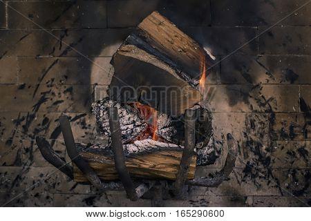 Closeup of a brazier in a grill