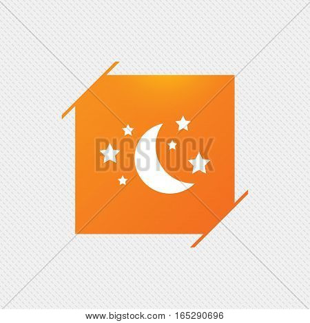 Moon and stars icon. Sleep dreams symbol. Night or bed time sign. Orange square label on pattern. Vector