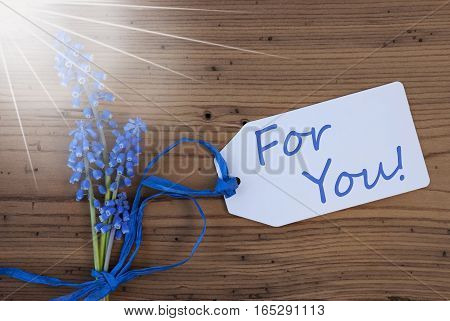 Label With English Text For You. Sunny Blue Spring Grape Hyacinth With Ribbon. Aged, Rustic Wodden Background. Greeting Card For Spring Season