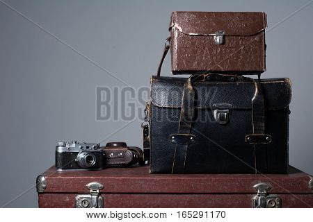 Stack Of Vintage Shabby Suitcases