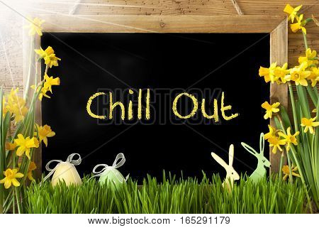 Blackboard With English Text Chill Out. Sunny Spring Flowers Nacissus Or Daffodil With Grass, Easter Egg And Bunny. Rustic Aged Wooden Background.