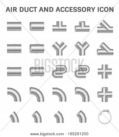 Vector icon of air duct pipe connector for air conditioner and HVAC system.