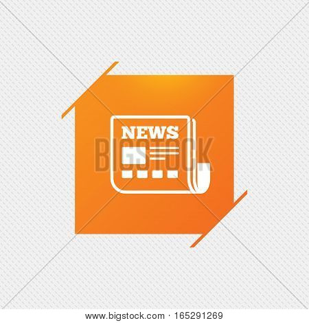 News icon. Newspaper sign. Mass media symbol. Orange square label on pattern. Vector