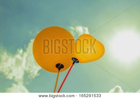 balloon and sunligh and blue sky background