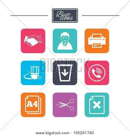 Office, documents and business icons. Printer, handshake and phone signs. Boss, recycle bin and eraser symbols. Colorful flat square buttons with icons. Vector