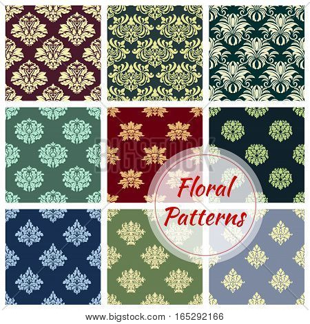 Flowery seamless pattern set of ornate damask or baroque vector floral embellishment motif and flourish ornamental tracery. Luxury royal flowers adornment backdrop and tiles for interior design