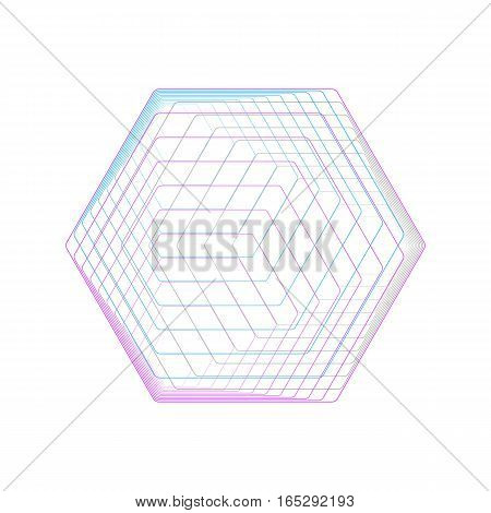 Abstract polygonal logo isolated on white. Geometric design symbol, hexagonal geometry. Vector background made of hexagons