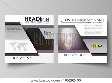 Business templates for square design brochure, magazine, flyer, booklet or annual report. Leaflet cover, abstract flat layout, easy editable vector. Dark color triangles and colorful circles. Abstract polygonal style modern background.