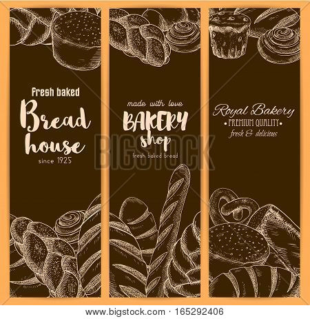 Bakery or baker house bread banners of sketch fresh baked pretzel, cinnamon roll, sweet sesame roll bun and croissant, white wheat toast bread, rye loaf brick or loaf and bagel with braided bread. Vector vertical brown design set for premium pastry poster