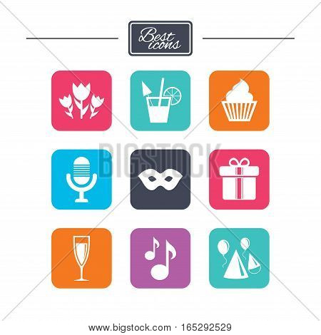 Party celebration, birthday icons. Cocktail, air balloon and champagne glass signs. Gift box, flowers and carnival symbols. Colorful flat square buttons with icons. Vector