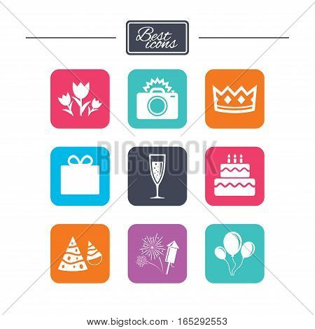 Party celebration, birthday icons. Fireworks, air balloon and champagne glass signs. Gift box, flowers and photo camera symbols. Colorful flat square buttons with icons. Vector