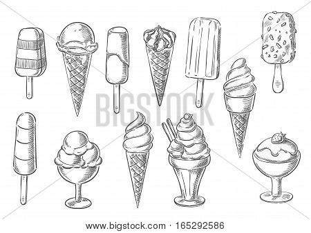 Ice cream sketch icons of sweet frozen creamy desserts, fruity gelato ice cream, soft ice cream in wafer cone, caramel eskimo or chocolate glaze sundae with nuts, whipped cream and fruit ice, fresh vanilla scoops in glass bowl. Vector isolated set
