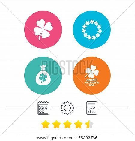 Saint Patrick day icons. Money bag with clover sign. Wreath of quatrefoil clovers. Symbol of good luck. Calendar, cogwheel and report linear icons. Star vote ranking. Vector