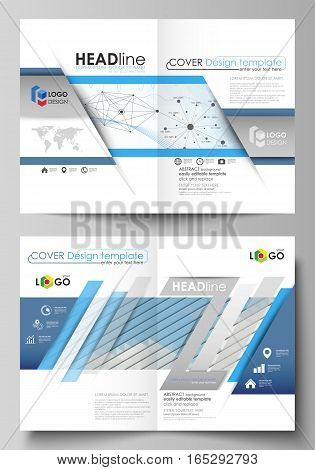Business templates for bi fold brochure, magazine, flyer, booklet or annual report. Cover design template, easy editable vector, abstract flat layout in A4 size. Blue color abstract infographic background in minimalist style made from lines, symbols, char