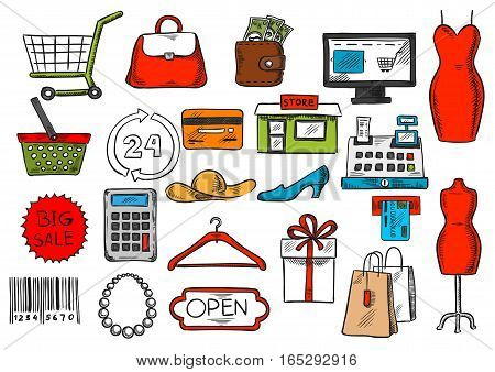 Shopping icons set. Vector isolated retail and purchase items of shop counter, woman dress and credit card, clothes hanger and shoes, gift box and shopping basket or bag, barcode price tag, money purse or wallet and discount sale label