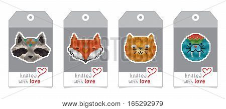 Collection of gift tags with knitted animal portraits. Set of badge design with knitting cartoon characters - fox, cat, bear, raccoon, seal