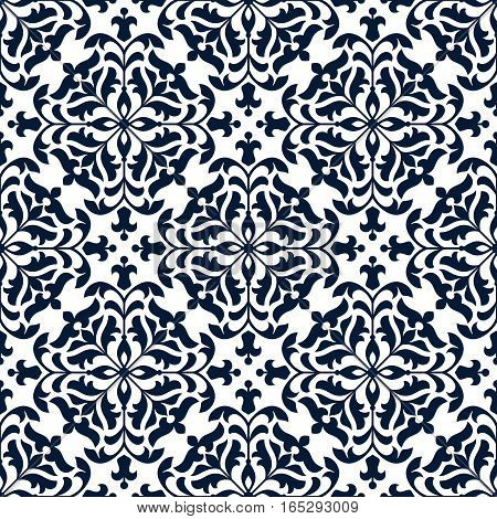 Flourish ornament tile with damask or arabesque floral pattern. Luxury flowery ornate embellishment or tracery backdrop with baroque or rococo flowery mosaic design