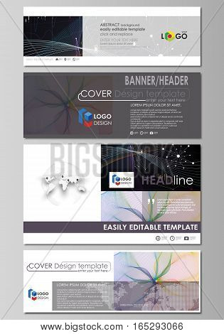 Social media and email headers set, modern banners. Business templates. Easy editable abstract design template, vector layouts in popular sizes. Colorful infographic background in minimalist style made from lines, symbols, charts, diagrams and other eleme