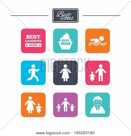 People, family icons. Swimming pool, person signs. Best mom, father and mother symbols. Colorful flat square buttons with icons. Vector