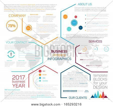 Landing page for business company website or infographics with vector graph charts and diagrams, link buttons and user interface design for internet web site navigation menu icons layout or template