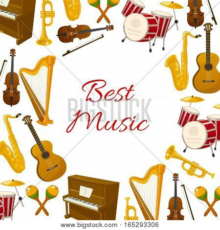 Musical instruments poster of acoustic guitar and violin with bow, orchestra harp and piano, maracas, saxophone or sax and cymbals on drum station, jazz trumpet and flute. Vector round poster design