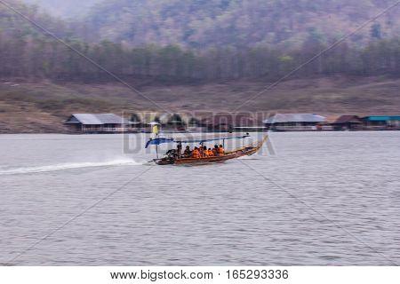Pan Camera Ship sailing at Mae Ngad dam in Maetaeng Chiangmai Thailand