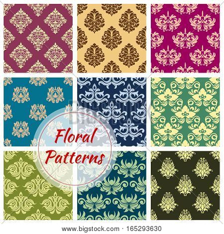 Flourish ornament of damask floral seamless pattern. Luxury flowery ornate embellishment or tracery backdrop with baroque or rococo flower decor for interior design