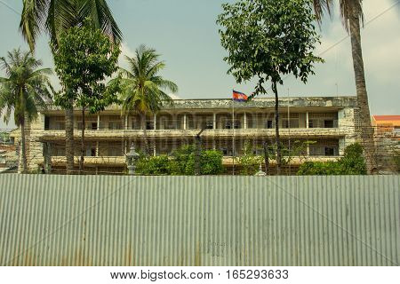 PHNOM PENH, CAMBODIA FEB 1: Tuol Sleng, a school turned into S-21, a prison and torture center used by the Khmer Rouge. February 1, 2015 in Phnom Penh, Cambodia.