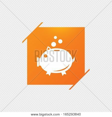 Piggy bank sign icon. Moneybox symbol. Orange square label on pattern. Vector