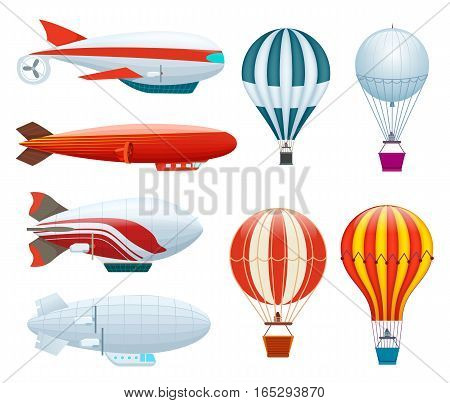 Hot air balloon set isolated on white background vector illustration. Aerostat airship, modern zeppelin, aerial vehicle dirigible, free flying aviation. Colorful hot air balloon collection in flat. Aviation concept. Air ballon, zeppelin and aerostat icon
