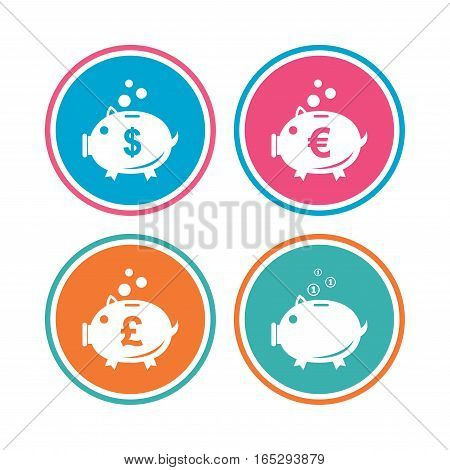 Piggy bank icons. Dollar, Euro and Pound moneybox signs. Cash coin money symbols. Colored circle buttons. Vector