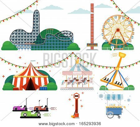 Amusement park with attractions set isolated vector illustration. Ferris wheel, striped circus tent, roller coaster, carousel, bumper car, swing, ice cream cart. Vacation and fun in amusement park. Circus icon collection. Amusement park concept.