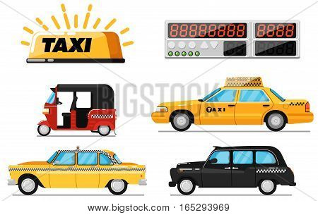 World taxi car and vehicle set isolated vector illustration. Yellow cab, auto rickshaw, hackney carriage. Taxi car roof sign, electronic taximeter icon, city public transport, taxi service concept. Taxi car icon set. Different taxi collection.