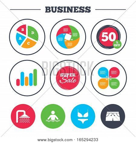 Business pie chart. Growth graph. Swimming pool icons. Shower water drops and swimwear symbols. Human stands in sea waves sign. Trunks and women underwear. Super sale and discount buttons. Vector