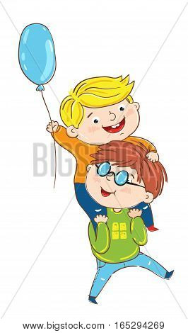 Happy children cartoon characters isolated on white background vector illustration. One boy sitting on another boy shoulders, smiling and playing, having fun happy children. Friendship concept. Mans or boys friendship.