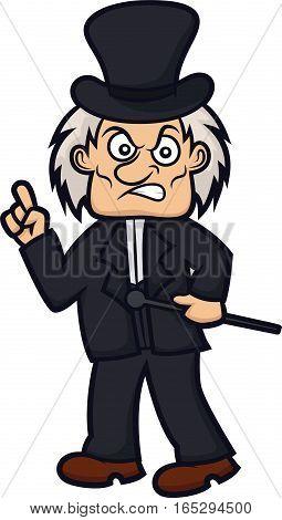 Ebenezer Scrooge Cartoon Character Isolated on White
