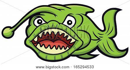 Green Monster Fish Cartoon Illustration Isolated on White