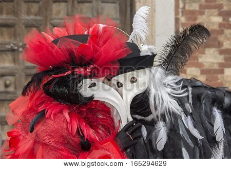 VENICE, ITALY - FEBRAURY 2: Carnival of Venice two grotesque masks FEBRUARY 2, 2016 in Venice, Italy