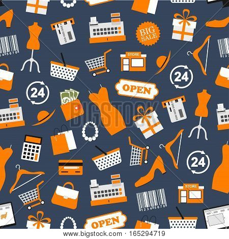Shopping seamless pattern of vector purchase and shop retail items of woman dress and hat, credit card and money purse or wallet, clothes hanger and shoes, gift box and shopping basket or bag, barcode price tag, seller counter desk and discount sale