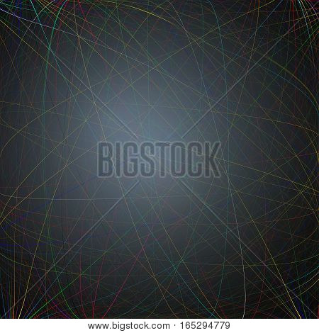 Colorful dark background with abstract lines. Bright color chaotic, random, messy curves. Colourful vector decoration.