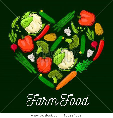 Farm vegetables and veggies heart poster of radish and carrot, potato and cucumber, cauliflower and broccoli cabbage, asparagus, garlic and green peas, chili and bell pepper. Vector vegetarian organic healthy food harvest